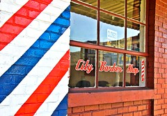 Down Town City Barber Shop    H.W.W.....Explored... (~ Cindy~) Tags: roane street blue white red bricks town down tennessee harriman hww shop barbershop explore