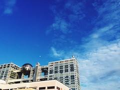 Fuji TV (Mullenkedheim) Tags: sky moon clouds tokyo  odaiba   iphone  fujitv