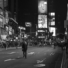 They Say The Neon Lights Are Bright..... (MPnormaleye) Tags: street city nyc urban bw monochrome sign marquee lights blackwhite neon theatre manhattan broadway coke sidewalk utata shops times cocacola stores restuarants bway