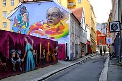 Colourful street (halifaxlight) Tags: street houses urban art norway graffiti downtown paintings pedestrians colourful bergen figures