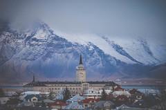 Reykjavik, Iceland (onapaperplane) Tags: city travel blue school mountains tower clock church skyline landscape iceland mt reykjavik esja clocktower adventure mount foreign esjan cit