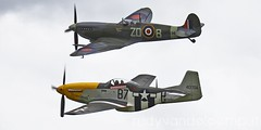 Formation Mustang & Spitfire (rudyvandeleemput) Tags: world 2 dutch tom vintage airplane war aircraft aviation military hurricane retro airshow ii bronco spitfire mustang yaks warbirds oldskool thunder oldambt meulen oostwold midwold
