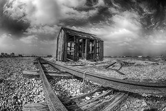 Back to Dungeness     *Explore* (sarah_presh) Tags: england monochrome clouds mono kent april dungeness hdr nikond7100