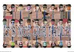 It's Not Our Fault 01b (Julian F Jones) Tags: abstract dolls text fineart hats burning heads times bowler financial