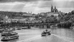 The Beautiful Prague in black and white ... (Robert Schller) Tags: castle prague vltava