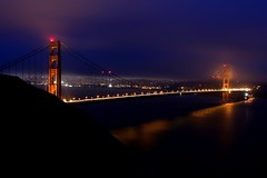 Foggy Golden Gate bridge (Nitish_Bhardwaj) Tags: sanfrancisco california bridge light usa mist fog night unitedstates unitedstatesofamerica goldengatebridge bluehour