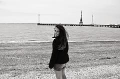 Asumida adversidad (Luciana Garca) Tags: ocean sea bw cold girl monochrome mar nikon bn oceano monocromatico d5100