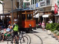 Sller- tram (whittakermj4) Tags: wooden cyclist tram streetscene racing historic unescoworldheritagesite unesco streetcar mallorca weltkulturerbe serradetramuntana sller patrimoinemondial strasenbahn