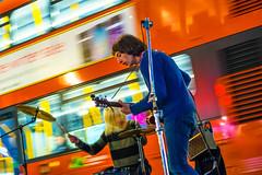 london rocks (gian_tg) Tags: london musicians speed nightshot streetphotography buskers colourful londonbus redbus hww buswindows windowwednesdays