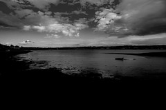 Low water...... (Dafydd Penguin) Tags: sunset sea sky blackandwhite bw white haven black west water monochrome silhouette wales clouds nikon low salt estuary milford 20mm af nikkor balckwhite neyland d600 f28d