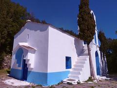 Church with blue waistband (angeloska) Tags: tree church architecture december ikaria aegean greece cypres   karavostamo  opsikarias