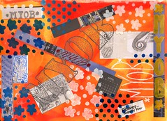 MYOB (Restless Muse) Tags: collage paper sketch stencil acrylic drawing journal artjournal gelpen