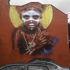 Culture @ 35ft (theGR0WLER) Tags: papuanewguinea culture street art streetart red white blue building manchester graffiti eyes huge mouth tribal dale grimshaw