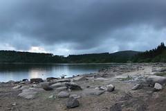Calm (Richard D Porter) Tags: uk cloud reflection water stone canon landscape tripod reservoir fisheye devon crop m42 16mm zenitar dartmoor f28 dx burrator 550d zenitargroup