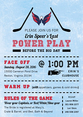 Hockey Bridal Shower Invitation2 (maddieandmarry) Tags: powerplay sports bridalshower invitatoin icerink blue red faceoff team logo fan game sticks puck love