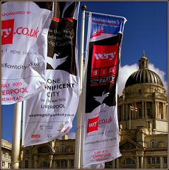 One Magnificent City (* RICHARD M (Over 5.5 million views)) Tags: heritage tourism architecture liverpool waterfront culture landmarks flags unescoworldheritagesite advertisement maritime dome banners shipping ports cunard adverts threequeens merseyside flagpoles mercantile capitalofculture collonades cunardline portofliverpoolbuilding seaports shippinglines maritimeheritage liverpoolpierhead pierheadliverpool maritimemercantilecity europancapitalofculture maritimecities mdhboffices onemagnificentcity cunardsthreequeens