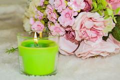 Feeling Feminine (The Vegan Taff Photography) Tags: pink flowers green pretty candle girly feminine pastel flame girlie babypink jarcandle furblanket