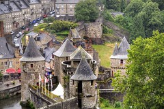 castle (Tony Shertila) Tags: sky france tower castle weather geotagged high brittany europe day outdoor scenic bretagne clear walls lookingdown fortifications fortress fra breton roofscape fougres bertayn geo:lat=4835370025 geo:lon=120778263 20150728144730