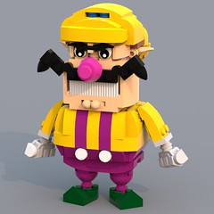 Wario (Unijob Lindo) Tags: blue party classic up hat yellow digital hands hand purple lego designer render character nintendo style mario curvy moustache overalls kart hurry curved companion stylized nds n64 wario ldd rival waa waluigi maxifig warioland bluerender