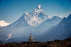 Stupa in front of Mt Ama Dablam, Khumbu (Everest) Region, Himalaya, Nepal (CamelKW) Tags: nepal stupa himalaya region khumbu everest 2016 mtamadablam everestpanoram