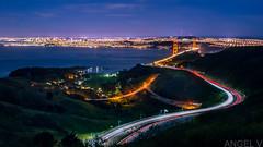 Views (thegentledon) Tags: sanfrancisco california longexposure thecity goldengatebridge goldengate freeway marincounty lighttrails sausalito marinheadlands