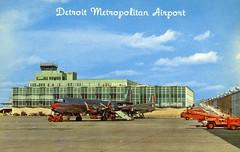 Detroit Metropolitan Airport Detroit MI (Edge and corner wear) Tags: vintage postcard pc chrome detroit mi michigan airport tarmac aitplanes prop airplane ramp modernism midcentury