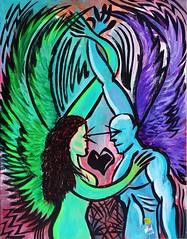 """Tavla """"Lovers Flight"""" (Magnus Dacke) Tags: woman man painting wings flight lovers canvas mad magnus duk 2016 mlning dacke vingar hssleholm kvinna svva lskande"""