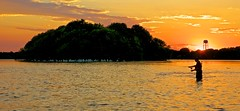 Fly Fishing:  Fox River, Rick, Pelicans, and a Sunset (J Henry G) Tags: flyfishing foxriver wisconsin sunset river pelicans johnhenrygremmer menasha