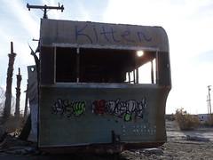 Kitten (Praxis Transmutation) Tags: saltonsea urban graffiti decay dawn light street trailer spraypaint paint abandoned alone camper