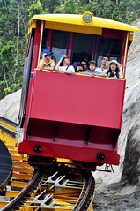 Hold on to your hat (Roving I) Tags: travel tourism vertical transport lifestyle vietnam leisure rides resorts attractions danang riders sunhats passenges funicularrailways banahills