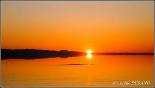 Lever de soleil sur le lac salé Chott El Jerid