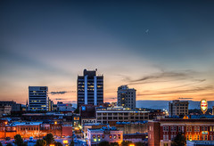Crescent Moon and Twilight Rays Roanoke (Terry Aldhizer) Tags: city sunset sky moon evening twilight downtown sundown crescent roanoke terry rays aldhizer terryaldhizercom