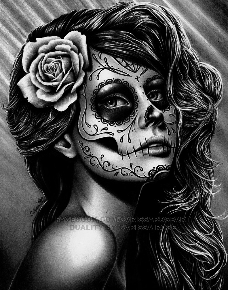 Duality Caressa Sparkle Tags Roses Portrait White Black Never Flower Art Rose Tattoo Illustration