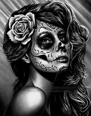 Duality (Caressa_sparkle) Tags: roses portrait white black never flower art rose tattoo illustration pencil pencils dayofthedead skull design die artist drawing surrealism flash gothic surreal sugar lolita diadelosmuertos carissa lowbrow realism realistic