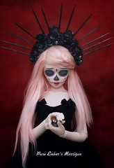 Secrets (pure_embers) Tags: uk pink red white alpaca girl ball hair photography skull photo doll dolls skin secret sugar bjd resin pure spikes joint embers calavera msd morrigan unoa lusis embersmorrigan