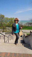 High Above Lake Michigan's Blue Waters (Laurette Victoria) Tags: woman sunglasses spring pants auburn lakemichigan jeans jacket purse milwaukee lakepark