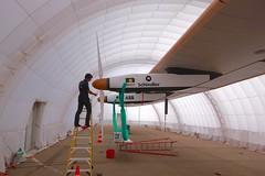 Checking the propellers on Solar Impulse (jurvetson) Tags: 2 solar hangar nasa ames andr pilot prep impulse borschberg