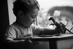 Kieran and his dinosaur (Yewbert The Omnipotent) Tags: people bw canada cute kids children blackwhite nikon candid toddlers