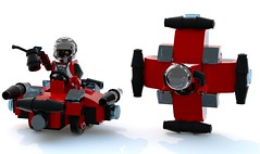 Micro Classics: Spyrius Spacecrosser (Unijob Lindo) Tags: blue red black classic digital robot neon lego designer render space wheels chibi scout micro classics oil 1995 mighty saucer droid micros ldd spyrius microfighters bluerender microclassics