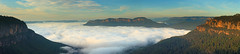 Olympian Rock Panorama (Darren Schiller) Tags: panorama fog clouds sunrise landscape bluemountains newsouthwales leura jamiesonvalley
