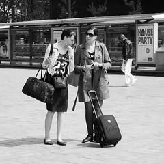Where to go (Harryk59) Tags: blackwhite women travellers direction bags visitors