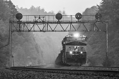 61N (Conrail4ever) Tags: norfolk southern train trains pennsylvania pittsburgh line railroad pennsy signal bridges ge lilly pa black white photo photography es44dc