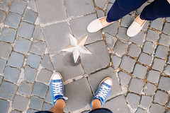A star fell on the ground (lorenzoviolone) Tags: dof finepix fujix100s fujifilm fujifilmx100s shoes vsco vscofilm x100s allstars blue depthoffield ground highangle mirrorless pointofview pov streetphoto streetphotocolor streetphotography together walk:rome=aug062016 roma lazio italy