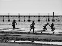 Tiki Taka (Riccardo Palazzani - Italy) Tags: lido di jesolo beach boys playng football calcio fobal soccer pier sand ball bw bnw