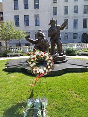 9-16-2016: The Firefighter Memorial at the Massachusetts State House. Boston, MA (msmariamad) Tags: project365 firefightermemorial massachusettsstatehouse boston memorialwreath