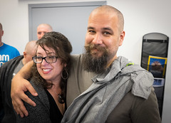 Andy & (a freshly shaven) Wookiee (tehgipster) Tags: sanfrancisco california unitedstates head cancer shave fundraiser stbaldricks twilio