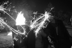 Bonfire Night (Honey Green) Tags: light people white black night speed dark nikon negative bonfire shutter sparkler
