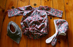 Lullaby Layette baby romper+ Purl Soho Winter baby hat+ bib