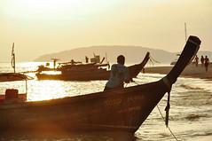 sundowner (marin.tomic) Tags: travel light sunset orange beach yellow asian thailand boat nikon asia southeastasia thai longtail krabi goldenhour sundowner railay d90 phranang