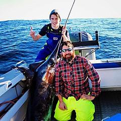 A cracking shot of Jack Quinn and his 127.4kg Broadbill Swordfish caught in Tasmania, Australia   #photocontest #stormlinegear #catchoftheday #swordfish